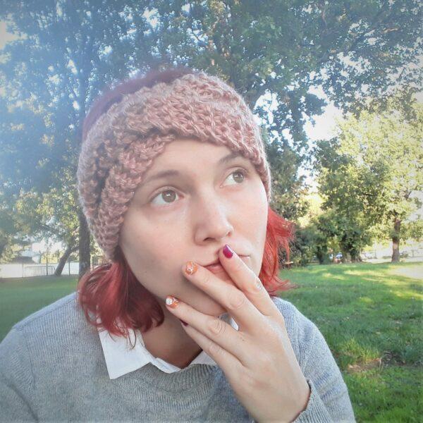 bandeau femme tresse fait-main rose